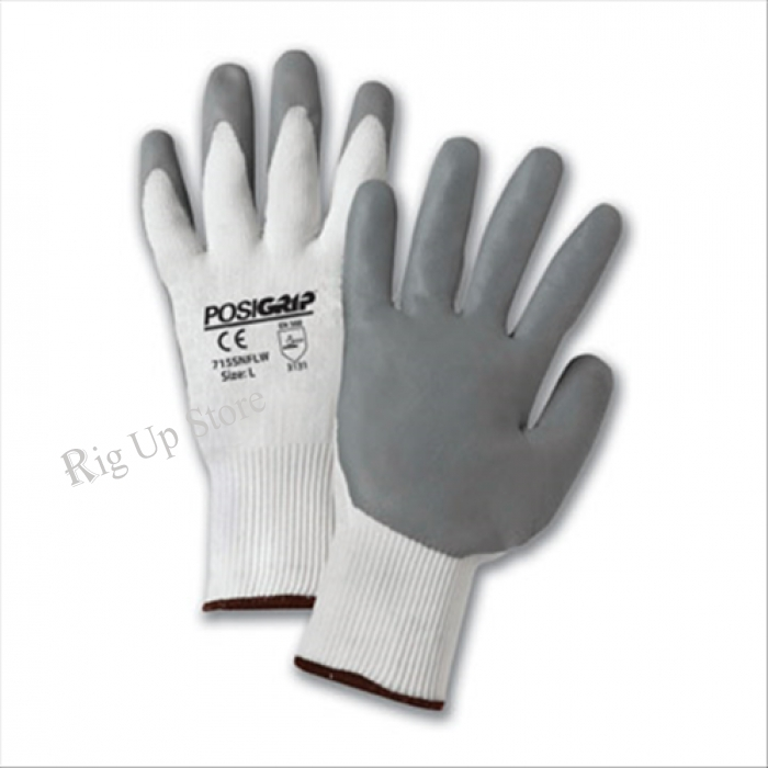 Gray Lunar Foam Nitrile Palm Dip on White Nylon Shell