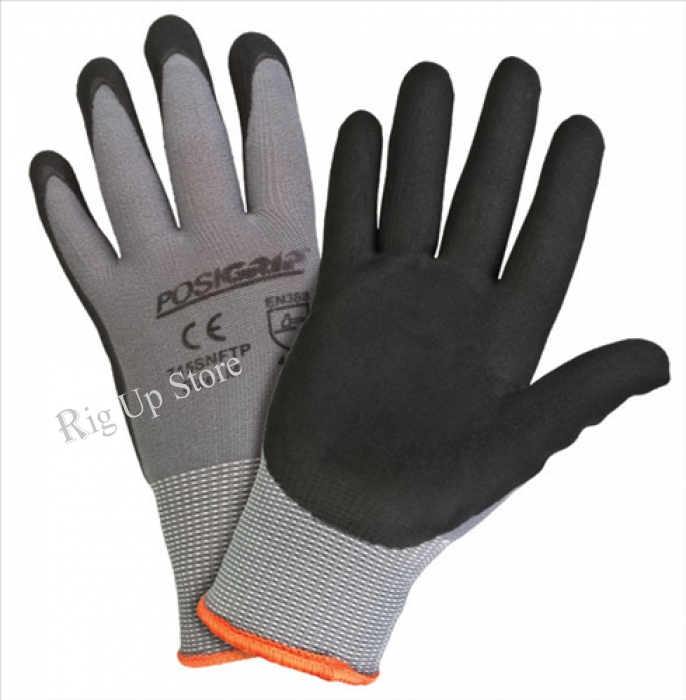 WESTCHESTER Black Foam Nitrile Palm Dip on Gray Nylon Shell